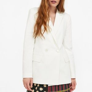 NWT Zara Woman Cotton Blend Double Breasted Blazer